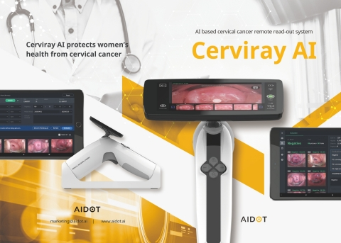 AIDOT Inc., a Korean medical ICT company, has strengthened exporting Cerviray AI, a cervical cancer remote readout system, to enhance women's health in developing countries where medical infrastructure is not sufficient. The Cerviray AI of AIDOT has been developed with an aim of improving women's health in global markets where medical infrastructure is lacking. AIDOT succeeded in commercializing the Cerviray AI in 2020. By employing the Visual Inspection with Acetic acid technique, the Cerviray AI is the first such device that has adopted AI and contactless remote solution. As it combines the Visual Inspection with Acetic acid (VIA) technique with AI, this solution can save test time and cost significantly in comparison with the existing pap test. (Graphic: Business Wire)