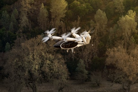 Joby's all-electric prototype aircraft soars above the company's Electric Flight Base in central California. (Photo: Business Wire)