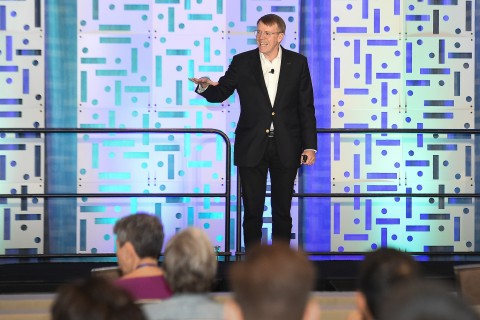 CEO Reade Fahs addresses members of National Vision's Doctor of Optometry network in Dallas, Texas during the first weekend of CE Symposium activities. (Photo: Business Wire)