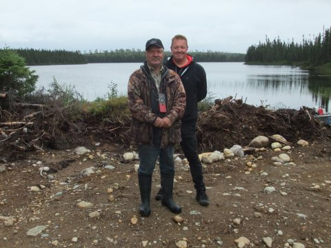 Photo is of Mike Lavoie, a prospector from Val-d'Or, and Hawkmoon's VP of Exploration, Thomas Clarke (Photo: Business Wire)