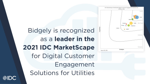 """A new IDC MarketScape report has recognized Bidgely as a """"Leader"""" in digital customer engagement solutions for utilities worldwide - one of only three companies in the Leaders category. (Graphic: Business Wire)"""