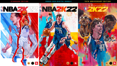 2K today announced the full roster of cover athletes for NBA® 2K22, the next installment of the top-rated and top-selling NBA video game simulation series of the past 20 years*. Global phenomenon and two-time NBA All-Star, Luka Dončić, graces the Standard Edition and Cross-Gen Digital Bundle, while a trio of the NBA's most impactful big men – Kareem Abdul-Jabbar, Dirk Nowitzki, and Kevin Durant – feature in a premium, NBA 75th Anniversary Edition, showcasing how each of these athletes changed the game. All editions of NBA 2K22 are currently scheduled for worldwide release on September 10, 2021 and are available for pre-order today. Featuring best-in-class visual presentation and player AI, historic teams, and a wide variety of hoops experiences, NBA 2K22 puts the entire basketball universe in the player's hands. (Photo: Business Wire)