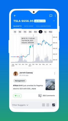"""StoryTrading integrates crowdsourced research and market data to help investors discover """"nuggets"""" of information and easy-to-grasp visualizations of the factors influencing a stock, including fundamentals, technicals, catalysts and sentiment. (Graphic: Business Wire)"""