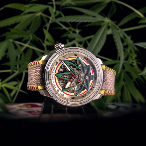 BB01 Automatic Cure the BullDog presents real CBD indica leaves extract inside the dial and a strap made of authentic hemp, produced by our partner in the United States, following the strictest sustainability and natural production standards. BB-01 Automatic Cure the BullDog is the ultimate symbol of audacity signed by BOMBERG. (Photo: Business Wire)