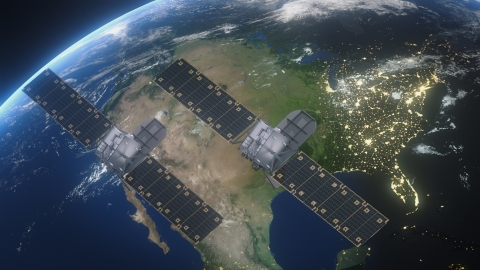 Artist's concept of twin Astranis satellites providing service from GEO. Credit: Astranis