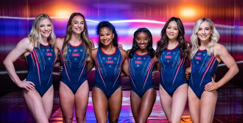 The 2021 Team USA gymnasts wear GK Olympic training leotards in a pre-Olympic photoshoot. Competition leotards will be unveiled on-mat in Tokyo. Photo credit: John Cheng