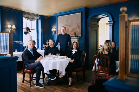 Membership Collective Group Leadership Team at the original Soho House, 40 Greek Street; L-R - Martin Kuczmarski, Chief Operating Officer; Andrew Carnie, President; Nick Jones, Chief Executive Officer and Founder; Humera Afzal, Chief Financial Officer (Photo: Business Wire)