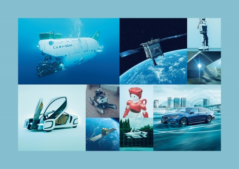 From upper-left] SHINKAI 6500, HAYABUSA2, Wearable Cyborg, Active scope camera for rescue [From lower-left] Ultra-thin and flexible tough polymer, Rescue robot, Small synthetic-aperture radar satellite (SAR), Communication robot, Flying car, Level-3 autonomous vehicle (Photo: Business Wire)