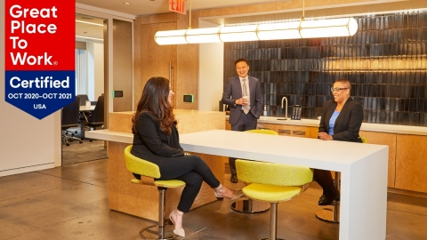Columbia Property Trust has been named one of the 2021 Best Workplaces in New York by Fortune magazine and Great Place to Work®. Photo of Columbia's New York City headquarters at 315 Park Avenue South (Photo credit: Yvonne Albinowski).