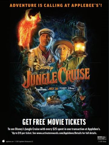 Only at Applebee's® Get a FREE* Movie Ticket to See Disney's Jungle Cruise for the Ultimate Dinner and a Movie (Graphic: Business Wire)