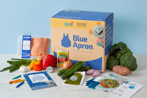 Inspired by the popular Netflix show Waffles + Mochi, Blue Apron's Pass the Love boxes are created in collaboration with Partnership for a Healthier America to help make home cooking more accessible. (Photo: Business Wire)