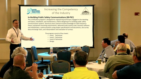 Chip Hollis, Senior Director, Credentials and Administration for National Institute for Certification in Engineering Technologies (NICET), announces the availability of the first NICET Certification Test for the IB-PSC program, in collaboration with the Safer Buildings Coalition (SBC). (Photo: Business Wire)