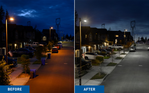 City of Sandy, Oregon Street and Cree Lighting - Before and After (Photo: Business Wire).