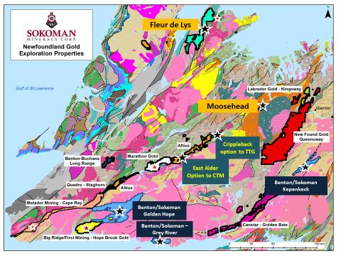 Sokoman Minerals' portfolio of gold properties in Newfoundland (Photo: Business Wire)