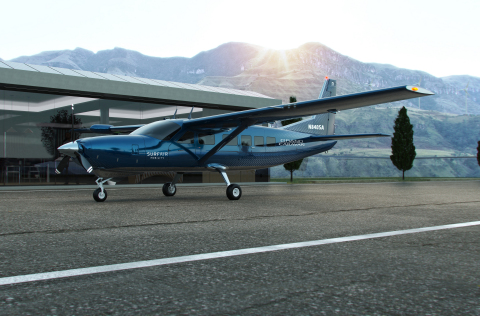 Rendering of the Surf Air Mobility electrified Cessna Grand Caravan aircraft planned for availability in 2024. (Photo: Business Wire)