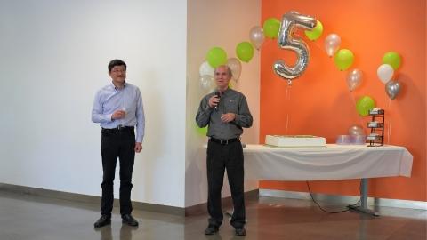 Cepton CEO Dr. Jun Pei (left) and CTO Dr. Mark McCord (right) spoke at the Company's fifth anniversary celebration. © Cepton Technologies, Inc.