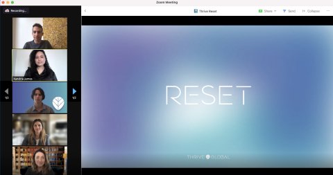 Thrive Global Teams Up With Zoom To Launch Thrive Reset App (Photo: Business Wire)