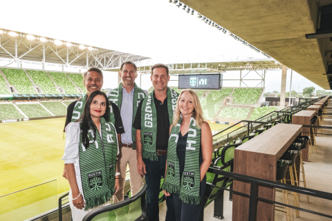 NI leadership and Andy Loughnane, President of Austin FC, at NI Suite Level at Q2 Stadium (Photo: Business Wire)
