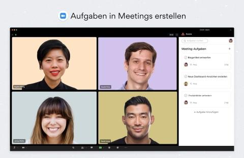 Asana-Aufgaben können direkt in einem Zoom-Meeting erstellt und zugewiesen werden, um Aktionen zu erfassen, ohne zwischen den Anwendungen wechseln zu müssen. (Graphic: Business Wire)