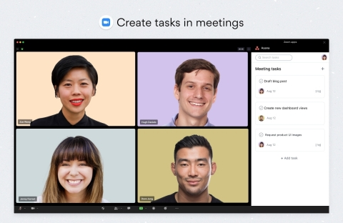 Teams can create and assign Asana tasks directly from a Zoom meeting to capture action items without having to switch between apps. (Graphic: Business Wire)
