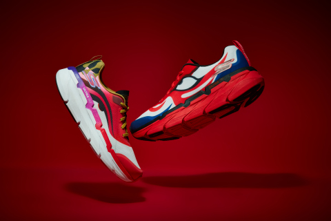 Skechers Max Cushioning styles from the limited-edition Skechers x kansaïyamamoto collaboration featuring the artist's iconic Kabuki-inspired designs. (Photo: Business Wire)