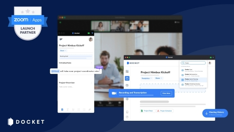 Docket launches a new app for Zoom for a more cohesive meeting experience. (Photo: Business Wire)