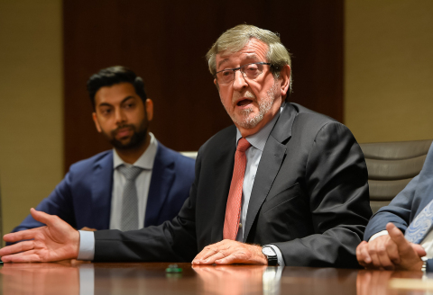 Michael Dowling, president and CEO of Northwell Health, joined by Dr. Chethan Sathya, pediatric surgeon and National Institutes of Health (NIH)-funded firearm injury prevention researcher. Credit: Northwell Health