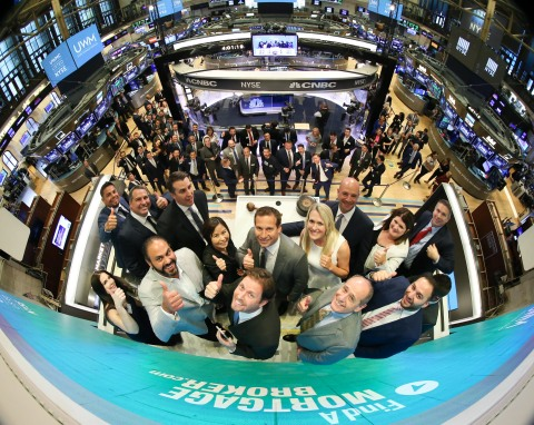 Mat Ishbia celebrates with brokers at the New York Stock Exchange to commemorate National Mortgage Brokers Day (Photo: Business Wire)