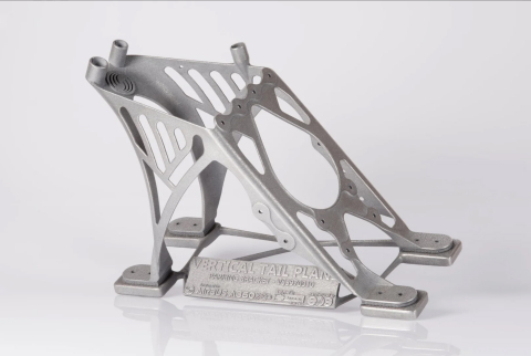 A350 titanium cable mount on the front spar of the vertical stabilizer made with EOS 3D printer. (Photo: Business Wire)