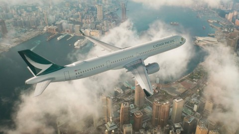 The first factory-installed Intelsat 2Ku system on a Cathay Pacific A321neo aircraft. (Photo: Business Wire)