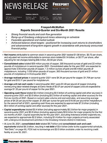 Freeport-McMoRan Reports Second-Quarter and Six-Month 2021 Results