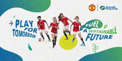 Renewable Energy Group teams up with Manchester United to create a more sustainable future. (Graphic: Business Wire)