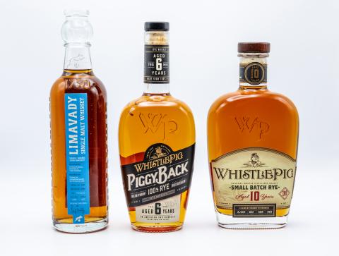 Limavady Single Barrel Irish Whiskey, WhistlePig PiggyBack Rye, WhistlePig 10 Year Small Batch Rye. (Photo: Business Wire)