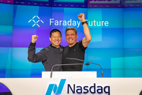Faraday Future (FF) Founder and CPUO YT Jia Joins Faraday Future Global CEO Carsten Breitfeld as FF Celebrates its First Day as a Public Company Trading on Nasdaq Under the Ticker Symbol FFIE (Photo: Business Wire)