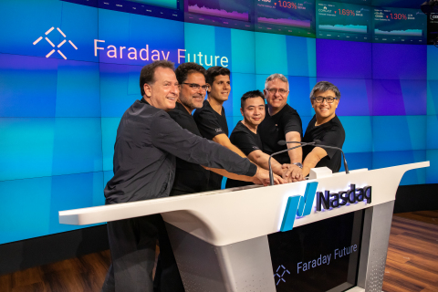 At the Nasdaq Bell Ringing Ceremony, Six Faraday Future External Partners From Different Industries Went on Stage to Ring the Bell (Photo: Business Wire)