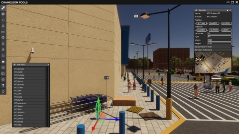 Mindtech's Chameleon platform: 3D simulation of a lost child in a busy parking lot, creating synthetic data to train a visual AI system (Photo: Business Wire)