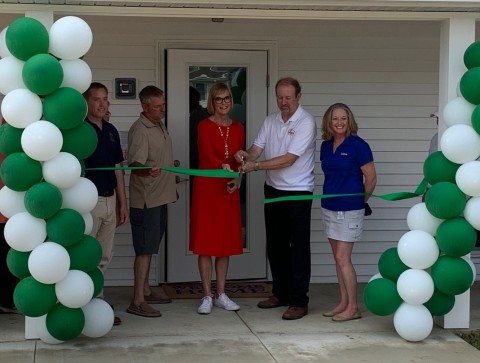 Anthem's statewide affordable housing investment was announced on July 24 at a ribbon-cutting ceremony and community health fair in Culver with Lt. Gov. Suzanne Crouch at the recently completed Paddocks project. The Paddocks six buildings encompass 48 units, providing housing for more than 20 children under 18 years of age. Representatives from Anthem, The Paddocks and the Indiana Housing and Community Development Authority join Lt. Gov. Suzanne Crouch at the ribbon-cutting. (Photo: Business Wire)