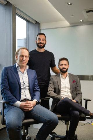 Dennis Plomp (l), Anastasios Papadopoulos (standing) and Ralph Chammah, CEO OwlGaze (r). (Photo: Business Wire)