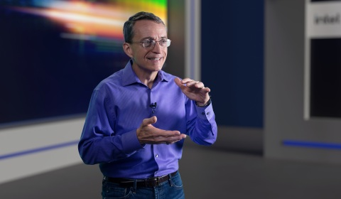 """Pat Gelsinger, CEO of Intel Corporation, speaks during a virtual presentation as part of the """"Intel Accelerated"""" event on July 26, 2021. At the event, Intel presented the company's future process and packaging technology roadmaps. (Credit: Intel Corporation)"""