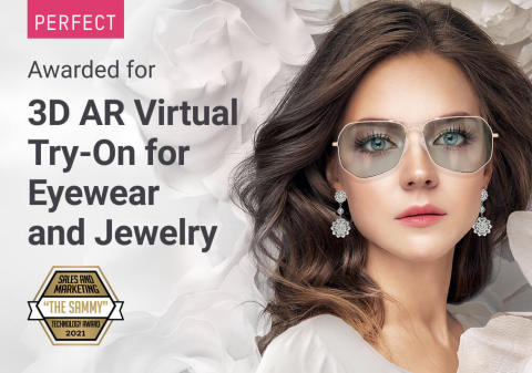 """Perfect Corp.'s 3D AR Jewelry and Eyewear Fashion Tech Solution is awarded Product of the Year in the 2021 """"Sammy Awards"""" (Graphic: Business Wire)"""