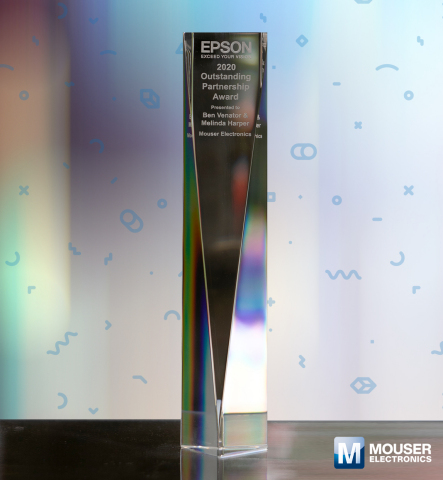 Mouser received the 2020 Outstanding Partnership Award from Epson America for continued increases in market share and customer count. (Photo: Business Wire)