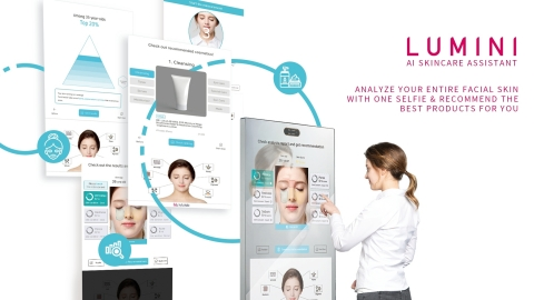 LUMINI is an AI-based skin analysis solution developed by lululab. lululab is an AI-based beauty care service startup established in 2017 through a spin-off from C-Lab, an internal venture business fostering program of Samsung Electronics. The LUMINI is a convenient and hygienic solution to measure and diagnose skin conditions and even provide customized skincare services using artificial intelligence and big data technologies. When a user takes a photo of its face, LUMINI secures the skin data within ten seconds and analyzes it in terms of seven items, which are pores, wrinkles, sebum, melasma, redness, acne, and oil and moisture balance, at the accuracy of at least 90% through a deep-learning algorithm independently developed by lululab. (Graphic: Business Wire)