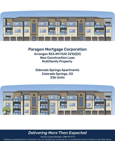 Paragon Mortgage Arranges $53.4M HUD 221(d)(4) New Construction Loan for Eldorado Springs Apartments in Colorado Springs, CO (Graphic: Business Wire)