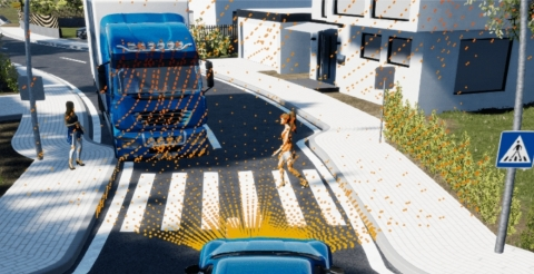 Simulation of Cepton Nova lidar point cloud in an ADAS use case, using dSPACE's solution. © dSPACE (Graphic: Business Wire)