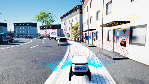 Simulation of Cepton Nova lidar point cloud in an autonomous ground vehicle (AGV) use case, using dSPACE's solution. © dSPACE (Graphic: Business Wire)