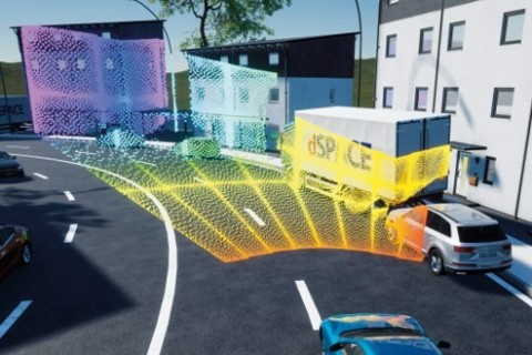 Simulation of Cepton Vista®-P60 lidar point cloud in an ADAS use case, using dSPACE's solution. © dSPACE (Graphic: Business Wire)