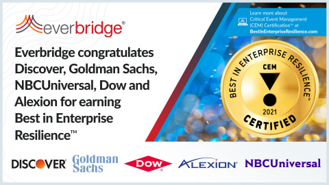 Everbridge Launches Industry's First Global Critical Event Management (CEM) Certification Program with Formalized Standards for Enterprise Resilience (Graphic: Business Wire)