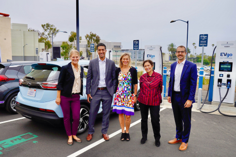 (left to right): Ariana Vito, Sustainability Analyst, Transportation Electrification of City of Santa Monica, Hannon Rasool, Deputy Director of California Energy Commission's (CEC) Fuel & Transportation Division, Cathy Zoi, CEO of EVgo, Sue Himmelrich, City of Santa Monica Mayor, and Aaron Wolff, Manager, EV Charging & Infrastructure for General Motors (Photo: Business Wire)