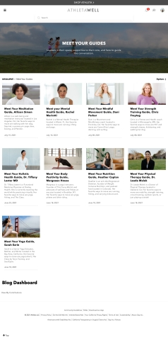 AthletaWell Guides page (Photo: Business Wire)