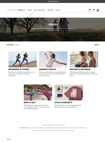 AthletaWell Spaces page (Photo: Business Wire)